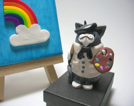 rainbow cat canvass