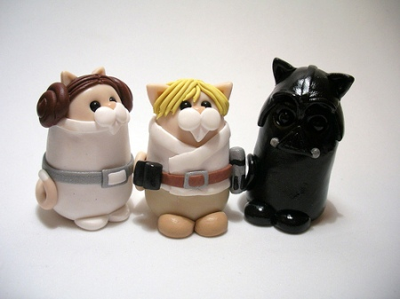 luke, laya, darth vadar cats