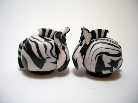 tiny cute zebras polymer clay